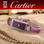 CARTIER-304-5 潮流最新閃亮銀紫色配紫底316精鋼錶殼瑞士石英腕錶