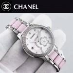 CHANEL-02-7 名媛必備閃亮銀鑲鑽陶瓷旋轉設計8218全自動機械腕錶
