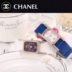CHANEL-03-9 時尚優雅玫瑰金白色錶帶配黑底316精鋼八角錶殼設計石英腕錶