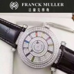Franck Muller-26-3 名媛摯愛神秘時間系列閃亮銀滿天星鑲鑽2836全自動機機械腕錶