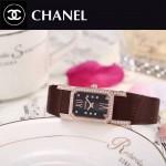 CHANEL-03-14 時尚優雅玫瑰金褐色錶帶配黑底316精鋼八角錶殼設計石英腕錶