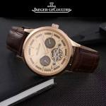 JAEGER-048-9 時尚男士玫瑰金配金底真牛皮錶帶全自動機械腕錶