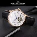 JAEGER-048-2 時尚男士玫瑰金配白底真牛皮錶帶全自動機械腕錶