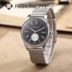 PATEK PHILIPPE-0144-7 時尚男士閃亮銀配黑底鋼帶款日本原裝石英腕錶