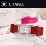 CHANEL-03-3 時尚優雅玫瑰金紅色錶帶配白底316精鋼八角錶殼設計石英腕錶