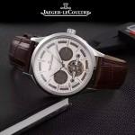 JAEGER-048-12 時尚男士閃亮銀配白底真牛皮錶帶全自動機械腕錶