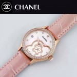 CHANEL-02-4 名媛必備玫瑰金鑲鑽粉色錶帶旋轉設計8218全自動機械腕錶