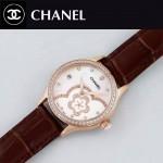 CHANEL-02-3 名媛必備玫瑰金鑲鑽褐色錶帶旋轉設計8218全自動機械腕錶