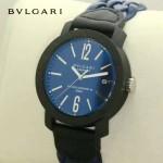 Bvlgari-95-2 時尚新款Carbon Gold藍色錶盤碳材質錶殼編織錶帶腕錶