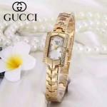 GUCCI-073-4 歐美百搭土豪金鑲鑽白底316精鋼錶殼進口石英腕錶