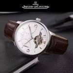 JAEGER-048-5 時尚男士閃亮銀配白底真牛皮錶帶全自動機械腕錶