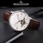 JAEGER-048-4 時尚男士閃亮銀配白底真牛皮錶帶全自動機械腕錶
