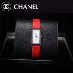 CHANEL-01-10 時尚女士新款紅色配白底316精鋼錶殼進口石英腕錶