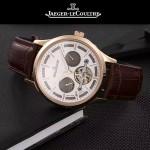 JAEGER-048-8 時尚男士玫瑰金配白底真牛皮錶帶全自動機械腕錶