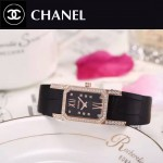 CHANEL-03-5 時尚優雅玫瑰金黑色錶帶配黑底316精鋼八角錶殼設計石英腕錶