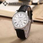PATEK PHILIPPE-0144-3 時尚男士閃亮銀配白底皮帶款日本原裝石英腕錶