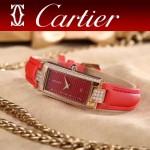 CARTIER-304 潮流最新土豪金紅色配紅底316精鋼錶殼瑞士石英腕錶