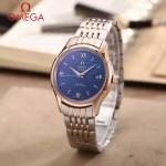 OMEGA-174-11 時尚經典蝶飛系列玫瑰金間銀配藍底鋼帶款全自動機械腕錶