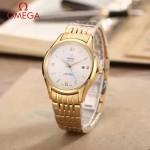 OMEGA-174-18 時尚經典蝶飛系列土豪金配白底鋼帶款全自動機械腕錶