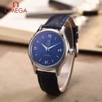 OMEGA-174-5 時尚經典蝶飛系列閃亮銀配藍底皮帶款全自動機械腕錶