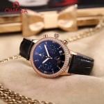 OMEGA-176 時尚女士黑色配黑底礦物質強化玻璃進口石英腕錶
