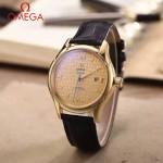 OMEGA-174 時尚經典蝶飛系列土豪金配金底皮帶款全自動機械腕錶