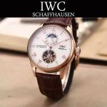 IWC-074 商務男士日月星辰搭配陀飛輪設計玫瑰金配白底全自動機械腕錶