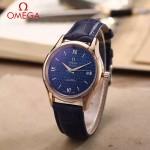 OMEGA-174-7 時尚經典蝶飛系列玫瑰金配藍底皮帶款全自動機械腕錶