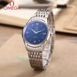 OMEGA-174-15 時尚經典蝶飛系列閃亮銀配藍底鋼帶款全自動機械腕錶