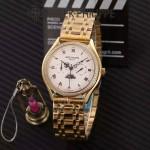 PATEK PHILIPPE-0145-03 百達翡麗進口石英藍寶石鏡面精品男士計時腕表