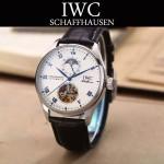 IWC-074-12 商務男士日月星辰搭配陀飛輪設計閃亮銀配白底全自動機械腕錶