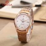 OMEGA-174-16 時尚經典蝶飛系列玫瑰金配白底鋼帶款全自動機械腕錶