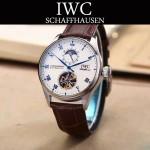 IWC-074-6 商務男士日月星辰搭配陀飛輪設計閃亮銀配白底全自動機械腕錶