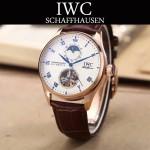 IWC-074-8 商務男士日月星辰搭配陀飛輪設計玫瑰金配白底全自動機械腕錶
