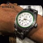 ROLEX-060-01 勞力士復古閃電雕刻加厚藍寶石玻璃搭配瑞士2813全自動機械機芯腕表
