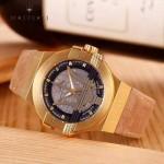 Maserati-002-4 潮流全新轎跑系列土豪金駝色皮帶款進口石英腕錶