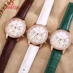 OMEGA-176-6 時尚女士綠色配白底礦物質強化玻璃進口石英腕錶