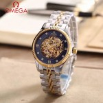 OMEGA-175-9 全新鏤空設計間金系列配黑底藍寶石鏡面全自動機械腕錶