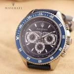 Maserati-001 時尚魅力男士藍色316精鋼錶殼進口石英腕錶
