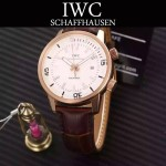 IWC-075 商務男士礦物質鋼化玻璃頭層牛皮超級海洋系列全自動機械腕表
