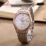 OMEGA-174-9 時尚經典蝶飛系列玫瑰金間銀配白底鋼帶款全自動機械腕錶