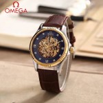 OMEGA-175-3 全新鏤空設計間金系列配黑底藍寶石鏡面全自動機械腕錶