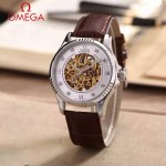 OMEGA-175-6 全新鏤空設計閃亮銀配白底藍寶石鏡面全自動機械腕錶
