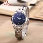 OMEGA-174-20 時尚經典蝶飛系列閃亮銀配黑底鋼帶款全自動機械腕錶