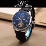 IWC-074-4 商務男士日月星辰搭配陀飛輪設計閃亮銀配白底全自動機械腕錶