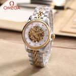 OMEGA-175-11 全新鏤空設計間金系列配白底藍寶石鏡面全自動機械腕錶