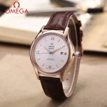 OMEGA-174-2 時尚經典蝶飛系列玫瑰金配白底皮帶款全自動機械腕錶