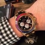 ROLEX-056-01 勞力士迪通拿藍寶石鏡面奢華彩鉆圈口限量75周年紀念版男士腕表