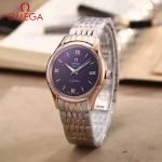 OMEGA-174-10 時尚經典蝶飛系列玫瑰金間銀配黑底鋼帶款全自動機械腕錶