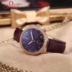 OMEGA-176-5 時尚女士咖色配黑底礦物質強化玻璃進口石英腕錶